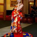 Kimono Dress Red-Blue Uchikake [Crane,Floral]