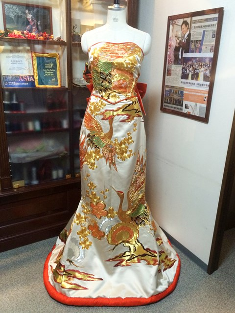 Kimono Dress Beige Uchikake [Crane]